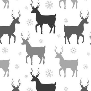 Buck Deer Silhouette | Gray on White |Renee Davis