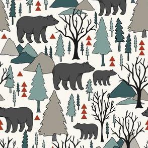 Woodland Bear - Spruce, Mushroom, Red, H White