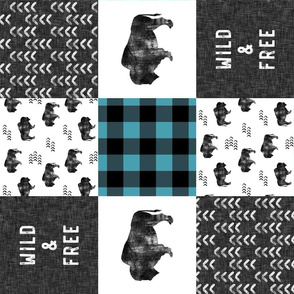 Buffalo Wholecloth - Wild and Free - Black, Grey, teal -  plaid (90) - C19BS