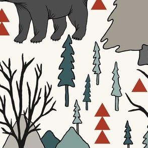 WoodlandBears - Large - Spruce, Mushroom, Cinnamon, H White