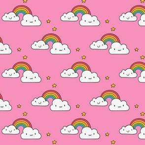 Cartoon Rainbow and Stars on Pink