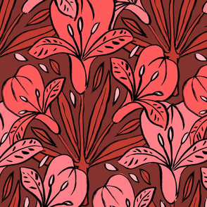 Chintz Large Flowers - Pink Red