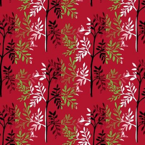 Leafy Trees in Red Black Lime and White Stripes