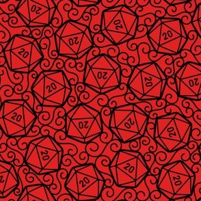 Ornate d20s in Black on Red