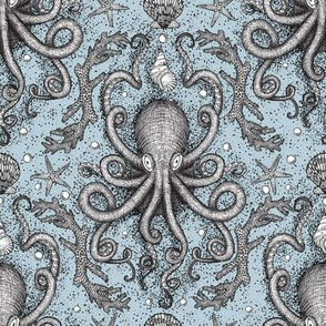 Octopus-Damask - Powder Blue