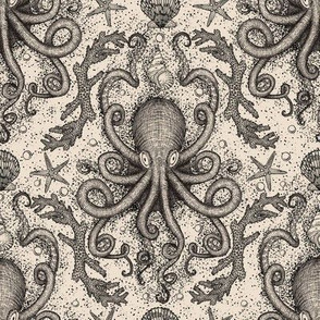 Octopus-Damask - Parchment Ivory