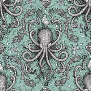 Octopus-Damask - Sea Foam
