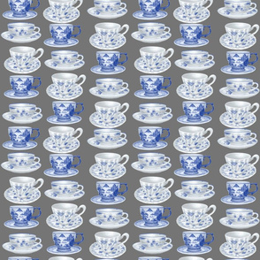 Blue and White Teacups Grey Back