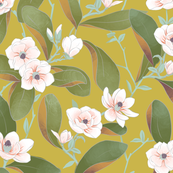 Chinoiserie Magnolias on Chartruese