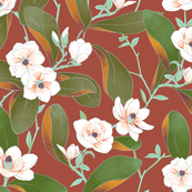 Chinoiserie Magnolias on Burnt Ruby