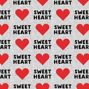 sweet heart - valentines- black and red on grey - LAD19