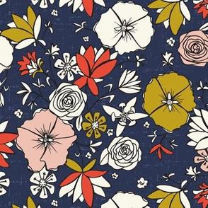 Emma - Modern Chintz Floral - Regular Scale - Blue - Bohemian Floral