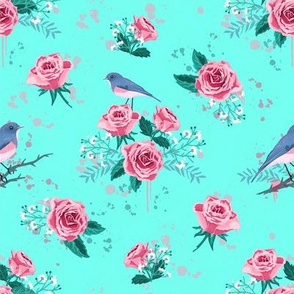 Chintz flowers and birds mint