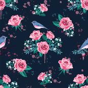 chintz roses darkblue