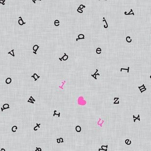 I ❤ U  - alphabet valentines toss - I love you - pink on grey - LAD19