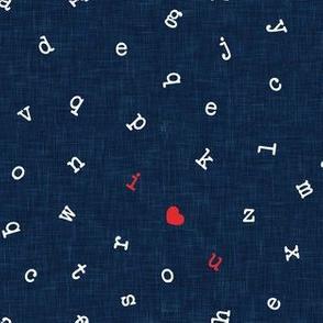I ❤ U  - alphabet valentines toss - I love you - red on blue - LAD19