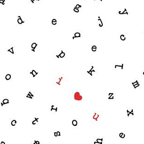 I ❤ U  - alphabet valentines toss - I love you - red - LAD19