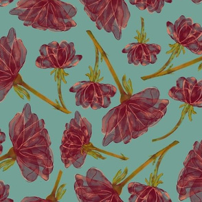 Transparent Flower Chintz - Vintage Turquoise