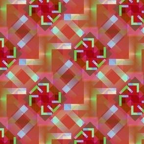 Kaleidoscope Red Lime Lavender Geometric