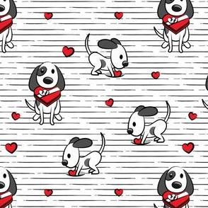 Cute dog valentines day - black stripes - cute dog valentines - LAD19