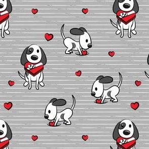 Cute dog valentines day - grey stripes - cute dog valentines - LAD19