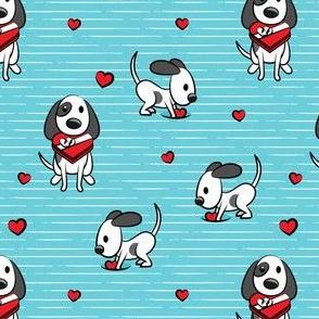 Cute dog valentines day - blue stripes - cute dog valentines - LAD19
