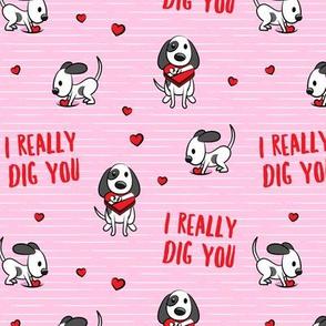 I really dig you! - pink stripes - cute dog valentines - LAD19