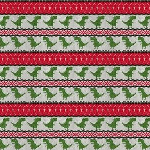 (extra small scale) Dino Fair Isle - Red &  Green 2 - T-rex winter knit - LAD19BS