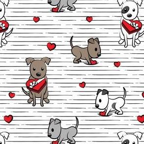 Cute Valentine Pitties - black stripes -  pit bull valentines day - LAD19