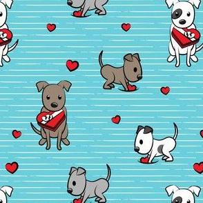 Cute Valentine Pitties - blue stripes -  pit bull valentines day - LAD19