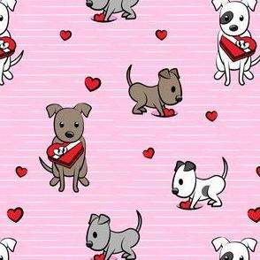 Cute Valentine Pitties - pink stripes -  pit bull valentines day - LAD19