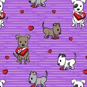 Cute Valentine Pitties - purple stripes -  pit bull valentines day - LAD19