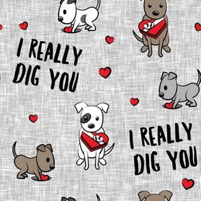 I really dig you! - grey - pit bull valentines day - LAD19