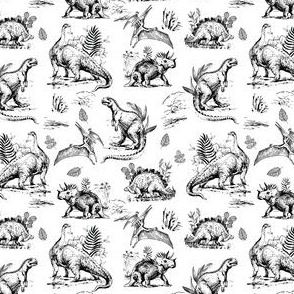 "4"" Dinosaur Land Sketch Black and White"