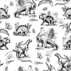"8"" Dinosaur Land Sketch Black and White"