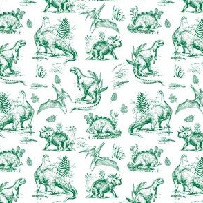 "4"" Green and White Dinosaur Sketch"