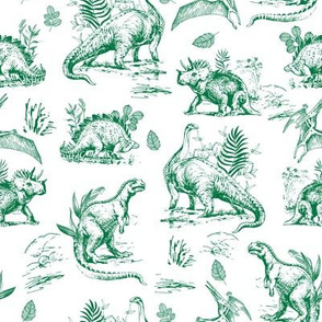 "8"" Green and White Dinosaur Sketch"