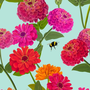 BRIGHT ZINNIA AND BUMBLEBEE CHINTZ