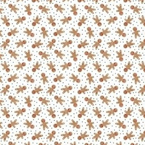 (micro scale) gingerbread man toss on white - cute watercolor christmas cookies - LAD19BS