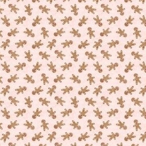 (micro scale) gingerbread man toss on pink - cute watercolor christmas cookies - LAD19BS
