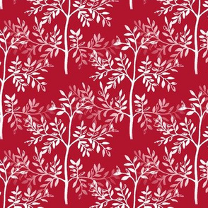 Leafy Trees in Red and White