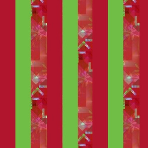 Red Lime Green Stripes with Geometrics and Lavender