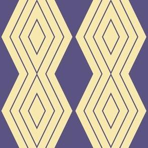 JP20 - Medium - Harlequin Pinstripe Diamond Chains in Grape Purple  on Whipped Butter Yellow