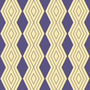 JP20 - Small - Harlequin Pinstripe Diamond Chains in Grape Purple  on Whipped Butter Yellow
