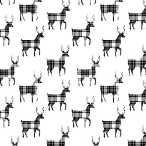 Tartan Buck Deer |Black White Plaid | Renee Davis