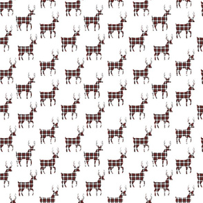 Tartan Buck Deer | SMALL | Red Black White | Renee Davis