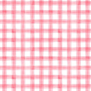 Valentines pink - plaid - watercolor plaid - LAD19
