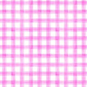 Valentines hot pink - plaid - watercolor plaid - LAD19