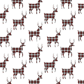 Tartan Buck Deer | Red Black White |Christmas |Renee Davis