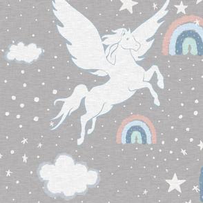 Pegasus Rainbow - Grey Linen
